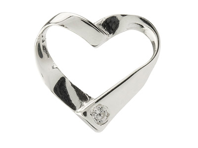 Sterling Silver Ribbon Heart       Pendant Set With Cubic Zirconia