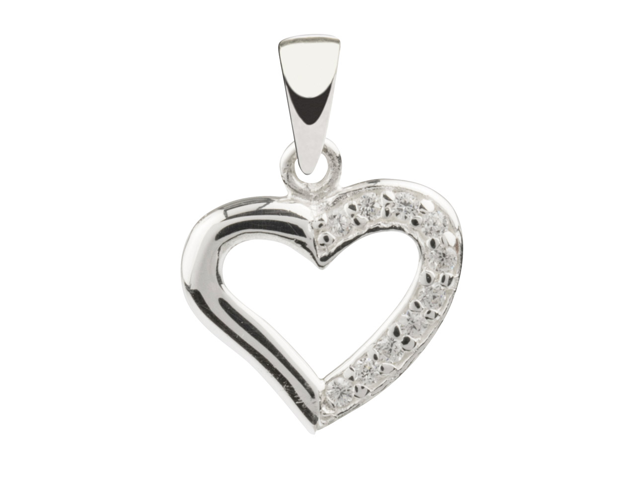 Sterling Silver Heart Outline      Pendant Set With Cubic Zirconia