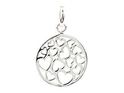 Sterling Silver Round Hearts       Pendant