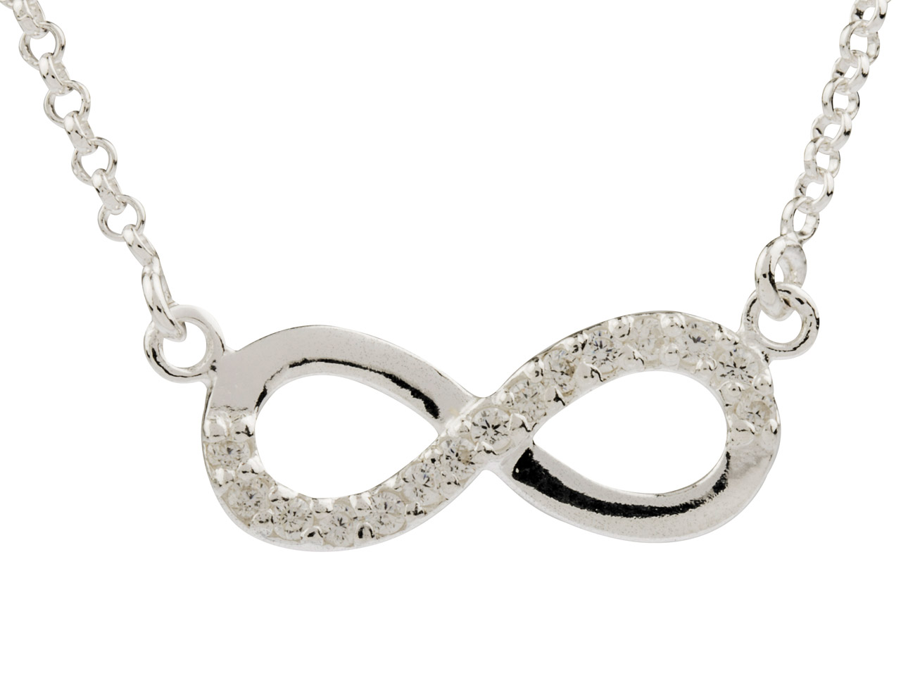 Sterling Silver Infinity Necklet   Set With Cz, 16-18