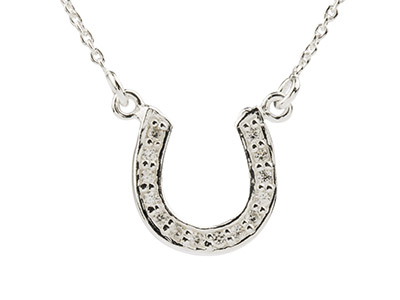 Sterling Silver Horseshoe Necklet  Set With Cubic Zirconia And        16-1840-45cm Chain