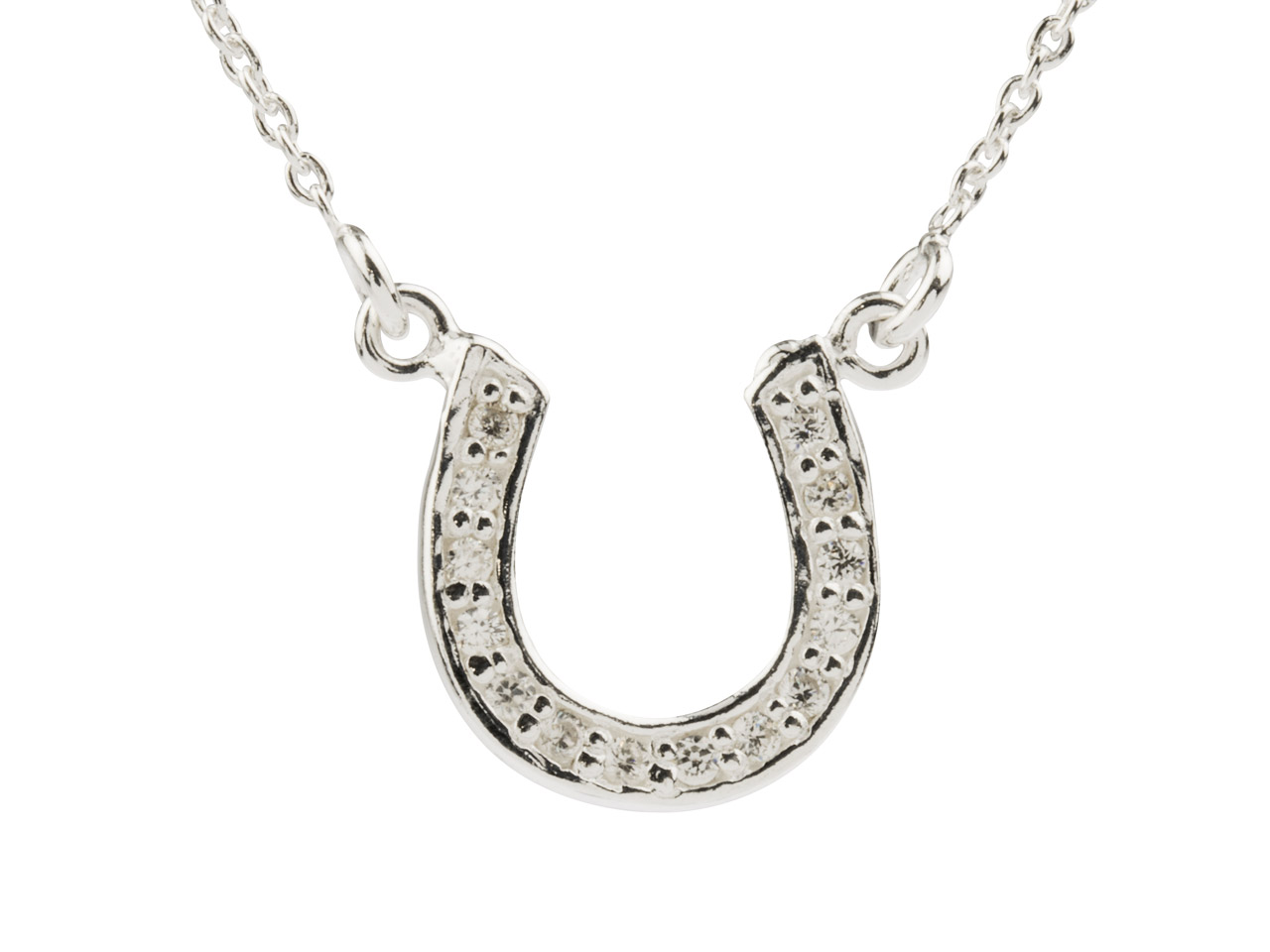 Sterling Silver Horseshoe Necklet  Set With Cz, 16-18