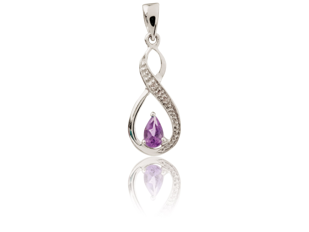 Sterling Silver Infinity Pendant   With Amethyst And Diamond