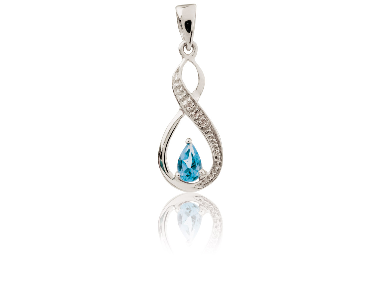 Sterling Silver Infinity Pendant   With Blue Topaz And Diamond