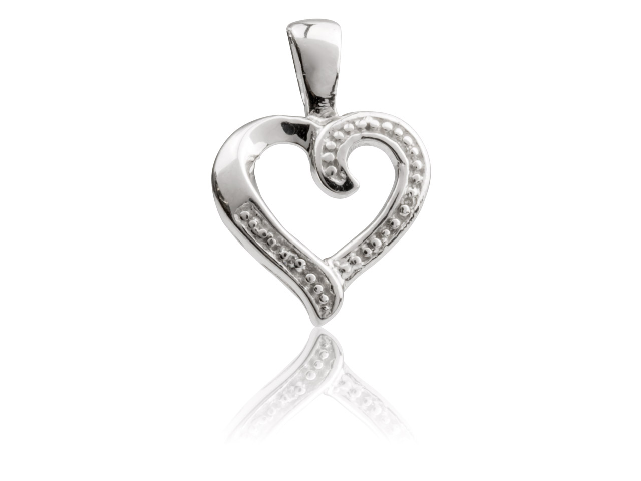 Sterling Silver Heart Outline      Pendant With Diamond