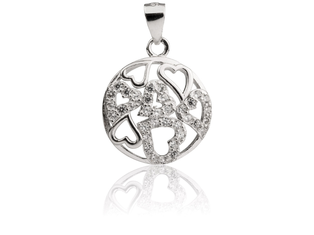 Sterling Silver Round Hearts       Pendant Set With Cubic Zirconia