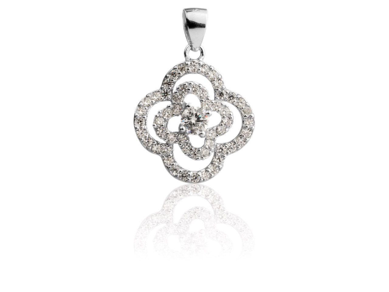 Sterling Silver Flower Pendant Set With Cubic Zirconia
