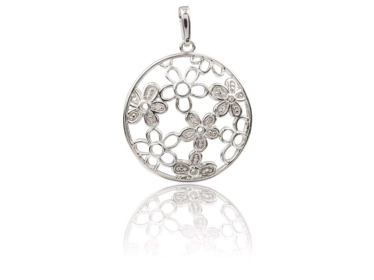Sterling Silver Round Filigree     Flower Pendant Set With            Cubic Zirconia