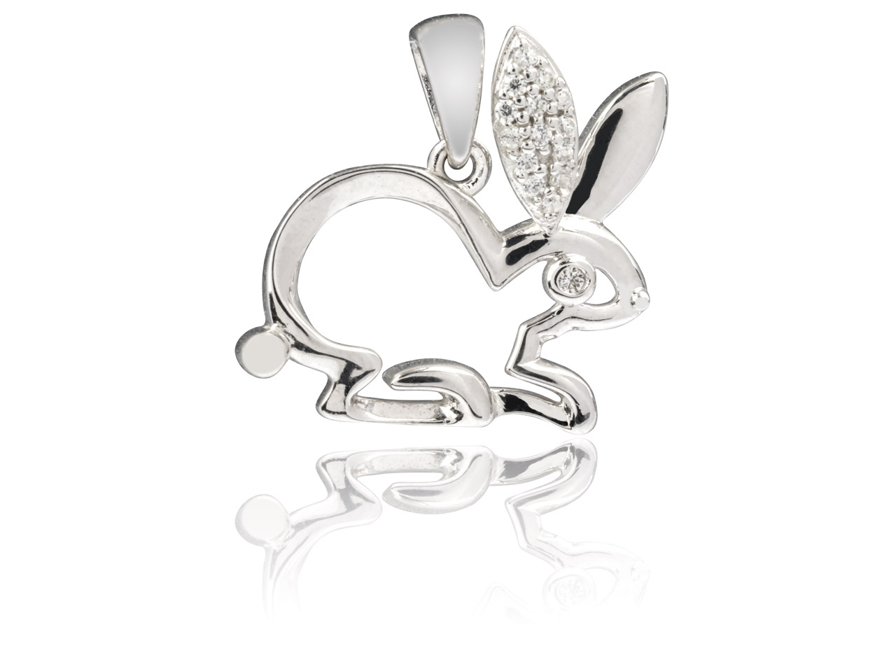 Sterling Silver Rabbit Pendant Set With Cubic Zirconia