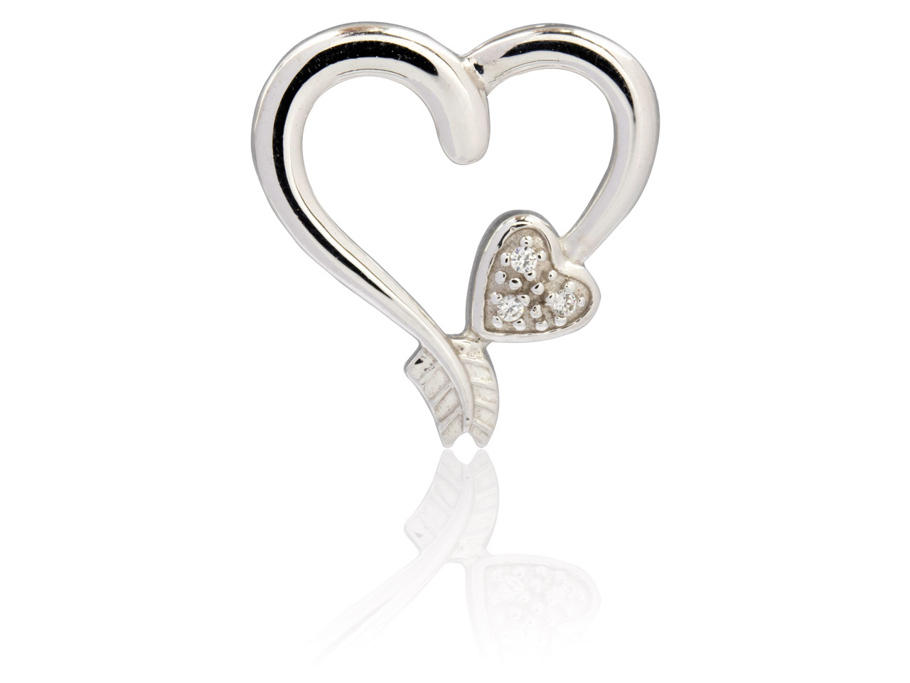 Sterling Silver Heart Pendant With Heart And Arrow Set With           Cubic Zirconia