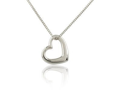 Sterling Silver Hanging Heart      Pendant On 1640cm Chain