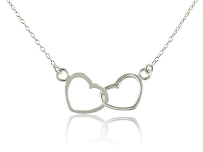 Sterling Silver Double Heart       Necklet, 1640cm Chain