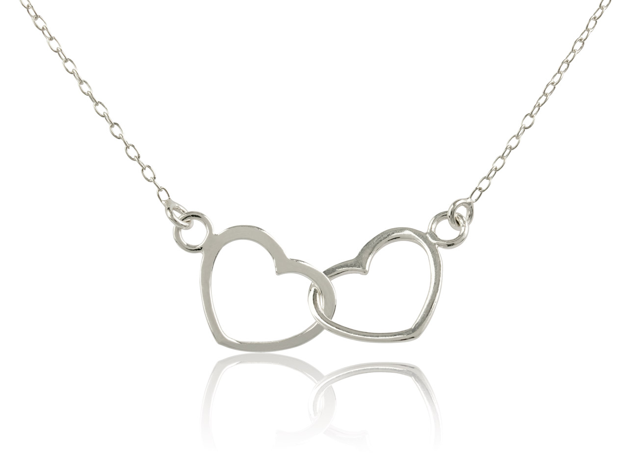 Sterling Silver Double Heart       Necklet, 16