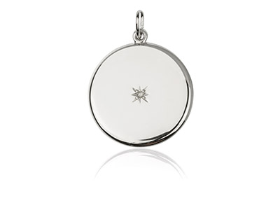 Sterling Silver Round Flat Sliding Locket Set With Cubic Zirconia