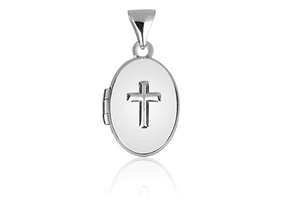 Sterling Silver Oval Locket With   Cross Design