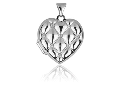 Sterling Silver Heart Quilted      Effect Locket Set With             Cubic Zirconia