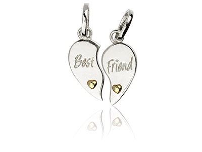 Sterling Silver Best Friend Duo    Pendant With Yellow Rhodium Plate