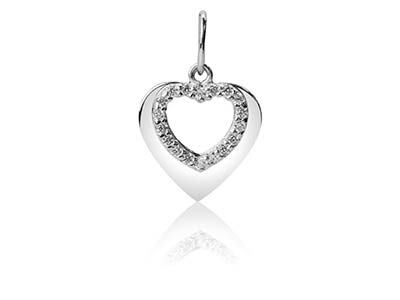Sterling Silver Double Heart Design Pendant Set With Cubic Zirconia