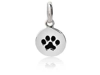 Sterling Silver Round Paw Print    Pendant