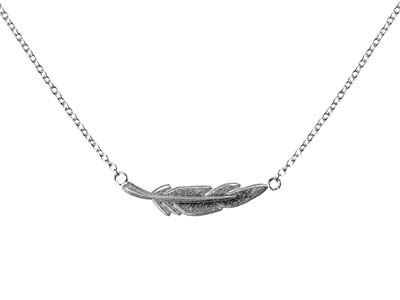 Sterling Silver Feather Design     1845cm Necklet With Jump Ring At 1640cm