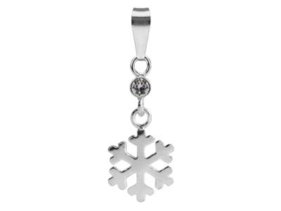 Sterling Silver Snowflake Design   Drop Pendant Set With              Cubic Zirconia