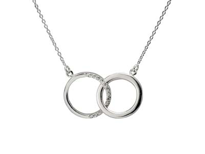 Sterling Silver Double Circle      Design Necklet Set With            Cubic Zirconia