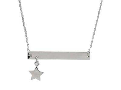 Sterling Silver Bar Design Necklet With Star Drop