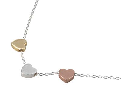 Sterling Silver Three Heart Design Necklet Plated Silver Yellow And   Rose 1845cm With 3cm Extension