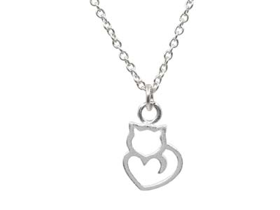 Sterling Silver Silhouette Cat     Design Necklet