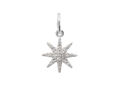 Sterling Silver Octogram Star      Design Pendant With Cubic Zirconia