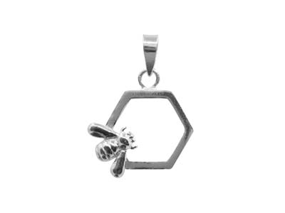 Sterling Silver Bee And Honeycomb  Design Pendant