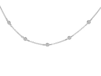 Sterling Silver Textured Satellite Design Necklet