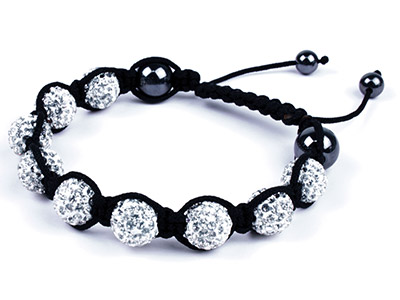 Shamballa Bracelet, White Crystal Glitter Ball And Hematite Bracelet