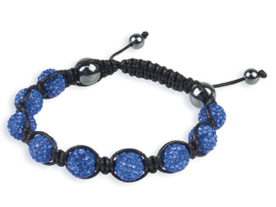 Shamballa Bracelet Blue Crystal Glitter Ball And Hematite Bracelet