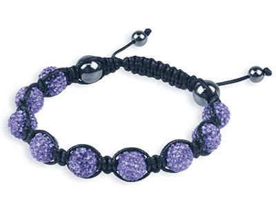 Shamballa Bracelet Purple Crystal  Glitter Ball And Hematite