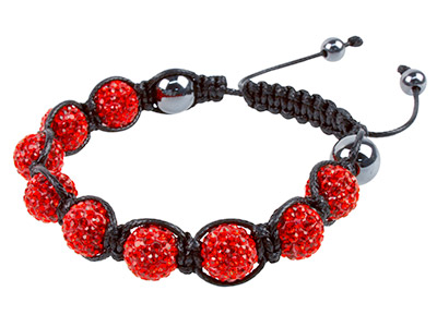 Shamballa Bracelet Red Crystal     Glitter Ball And Hematite