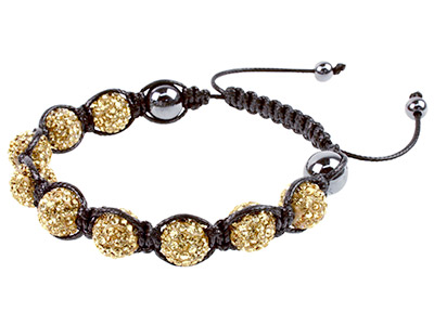Shamballa Bracelet Gold Crystal Glitter Ball And Hematite Bracelet