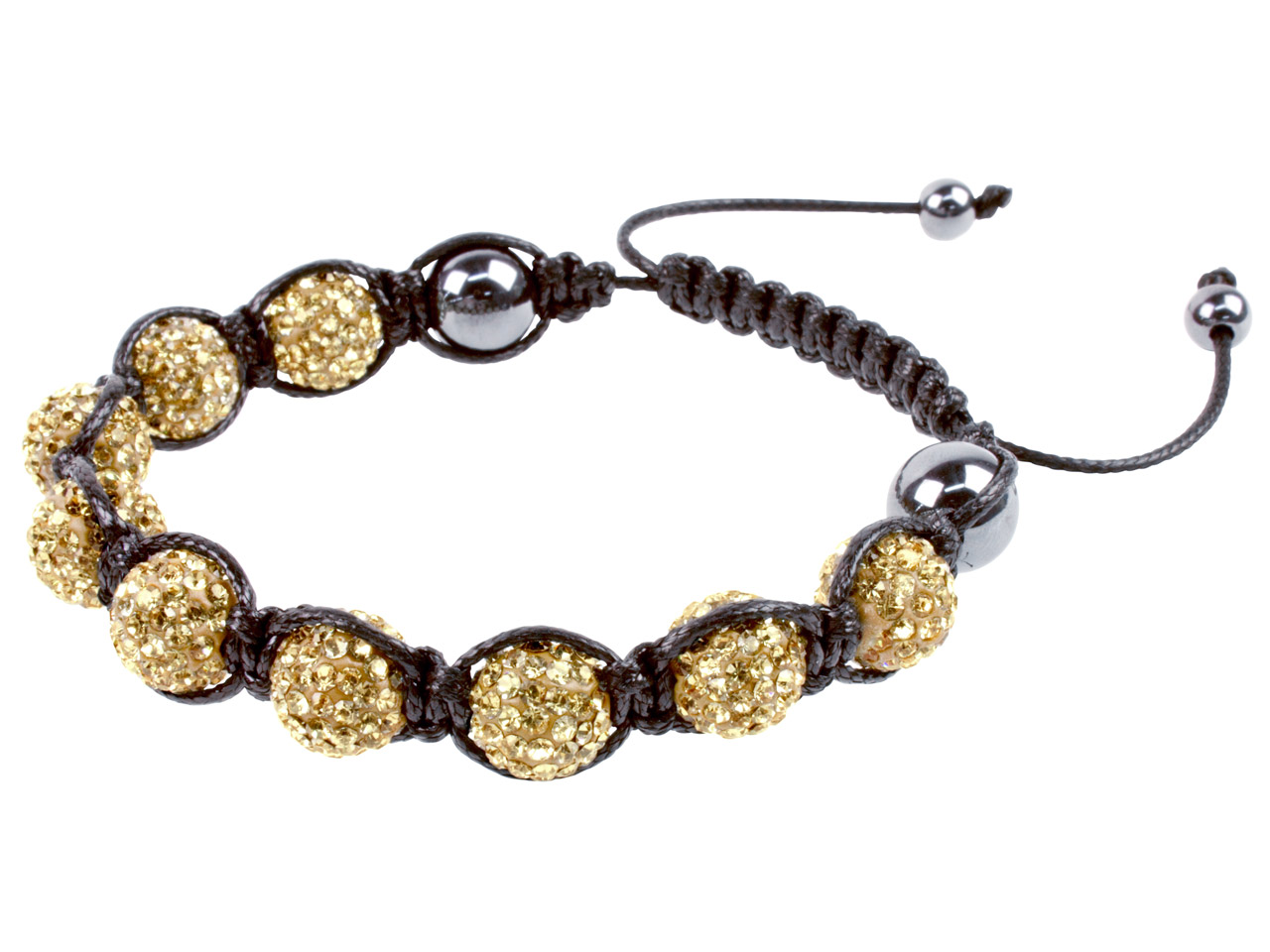 Shamballa Bracelet Gold Crystal    Glitter Ball And Hematite