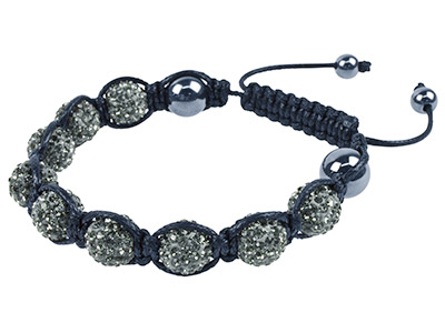 Shamballa Bracelet Graphite Crystal Glitter Ball And Hematite