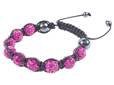Shamballa Bracelet, Hot Pink Crystal Glitter Ball And Hematite Bracelet