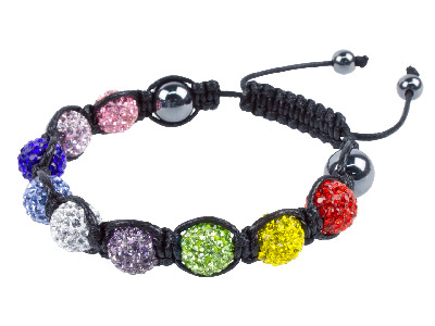 Shamballa Bracelet, Multi Colour Crystal Glitter Ball And Hematite Bracelet