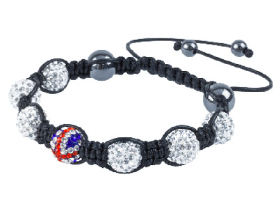 Shamballa Bracelet, Union And White Crystal Glitter Ball And Hematite