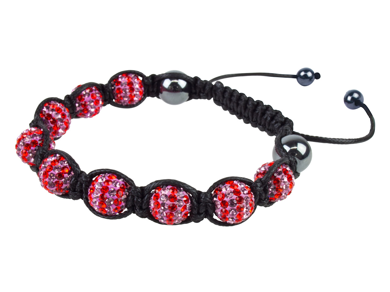 Shamballa Bracelet Red/lilac Stripe Glitter Ball And Hematite