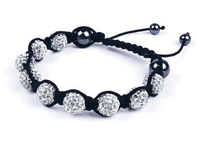 Free Shamballa Bracelet White      Crystal Glitter Ball And Hematite