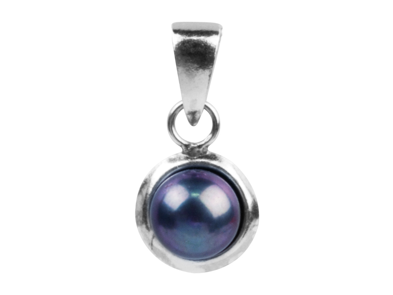 Sterling Silver Pendant Black      Fresh Water Button Pearl