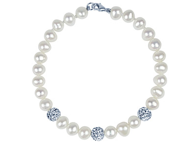 Fresh Water Pearl And Crystal      Bracelet White 7.519cm