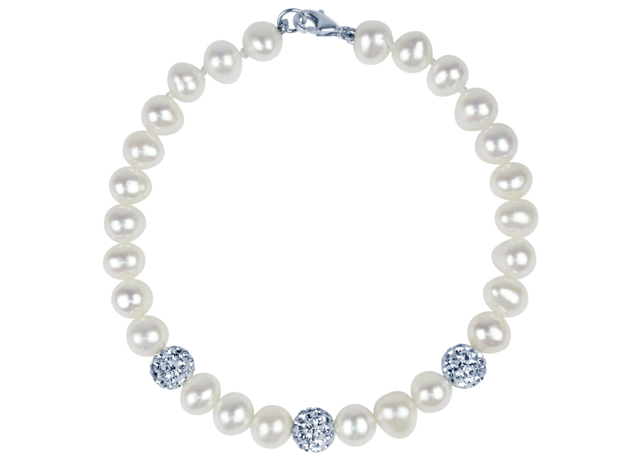 Fresh Water Pearl And Crystal      Bracelet White 7.5