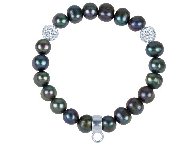 Fresh Water Pearl And Silver Charm Carrier Bracelet Black