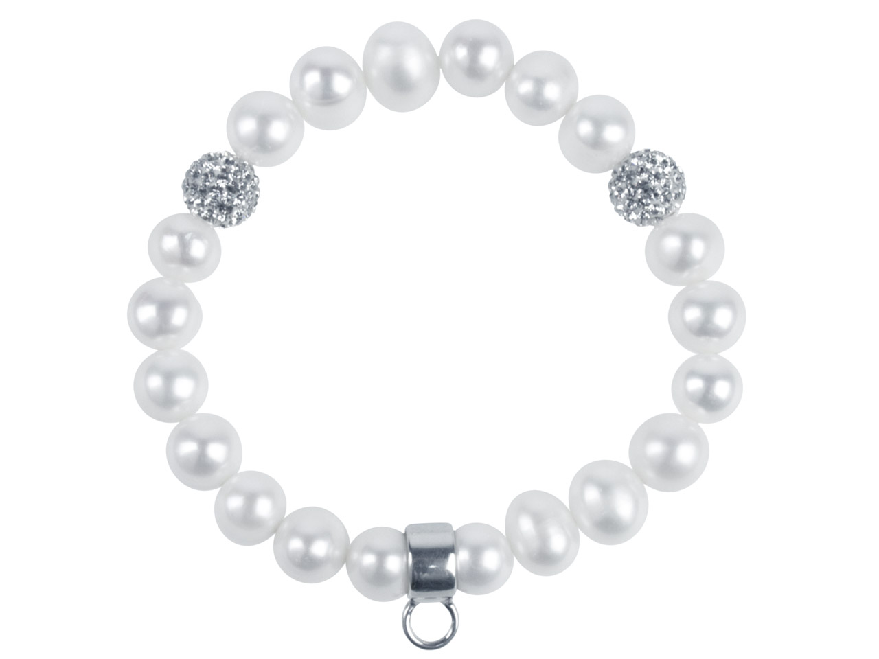 Fresh Water Pearl And Silver Charm Carrier Bracelet White