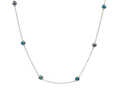 Sterling Silver Station Necklet    With 13 Blue Coloured Cubic        Zirconia, 3280cm